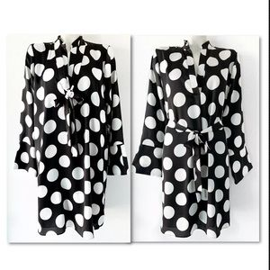 Ann Taylor Dresses - ANN TAYLOR BLACK WHITE POLKA DOT TIE NECK DRESS L